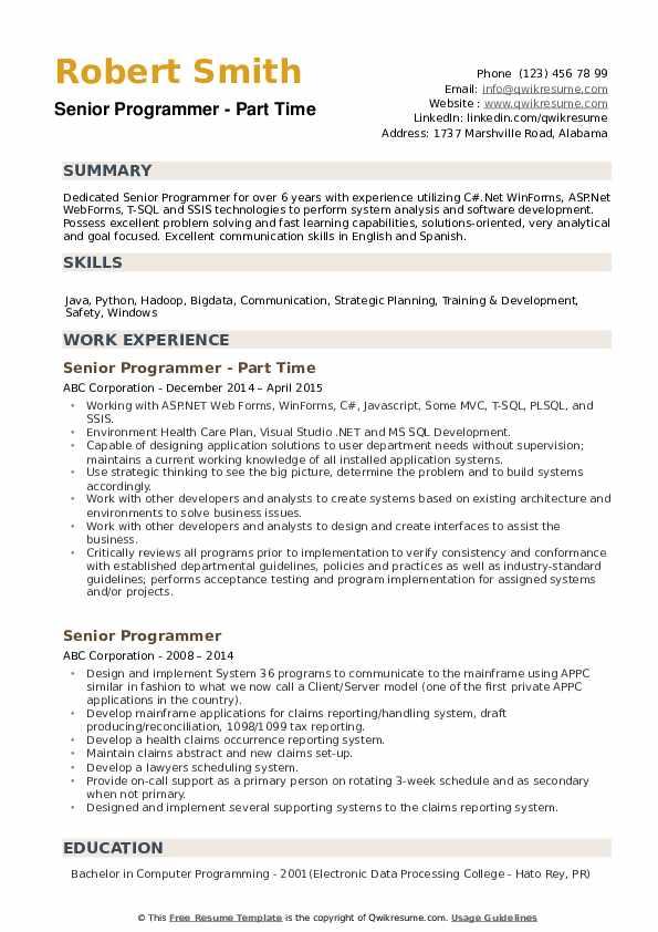 senior programmer resume samples  qwikresume