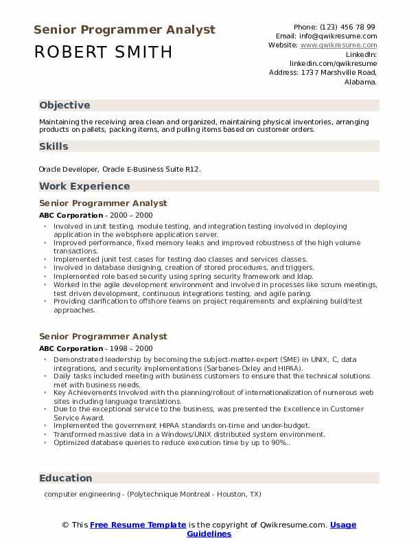 Senior Programmer Analyst Resume Sample