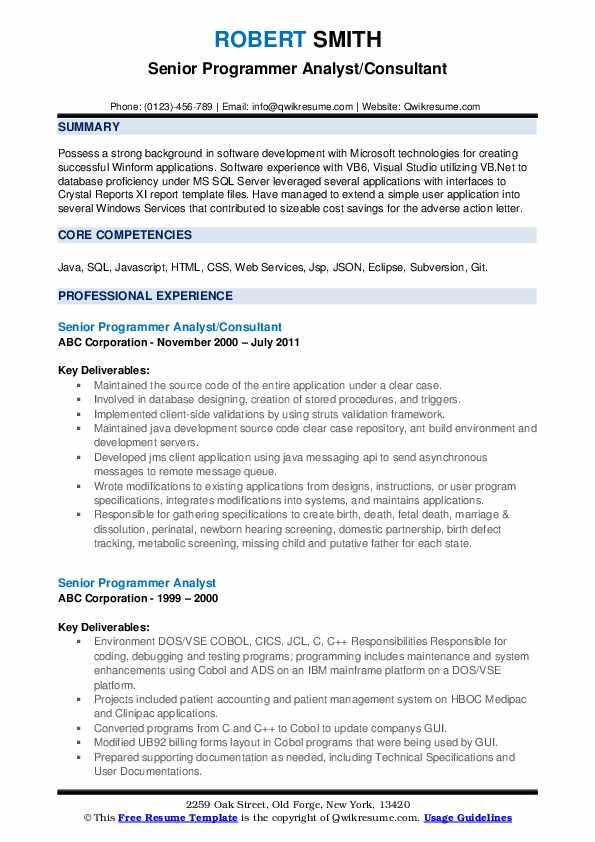 Senior Programmer Analyst/Consultant Resume Format