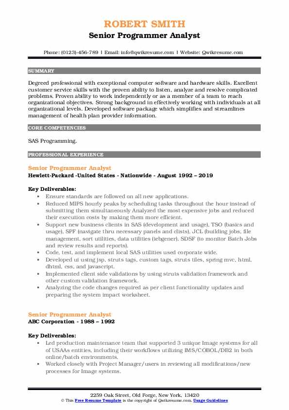 Senior Programmer Analyst Resume Model