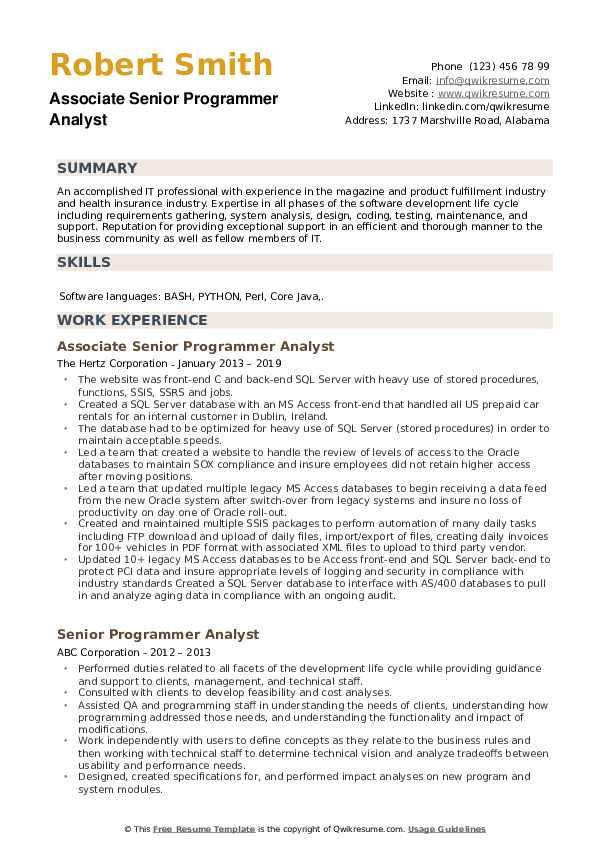 Associate Senior Programmer Analyst Resume Sample