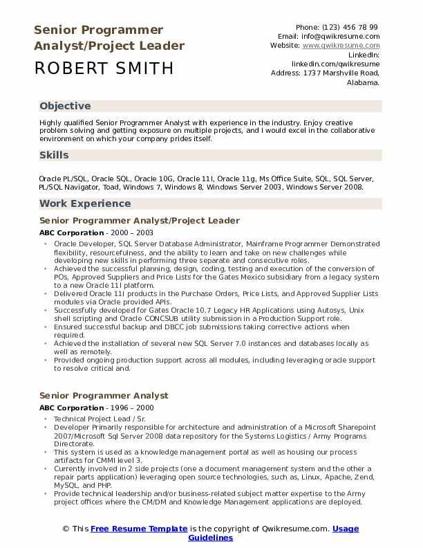 Senior Programmer Analyst/Project Leader Resume Model