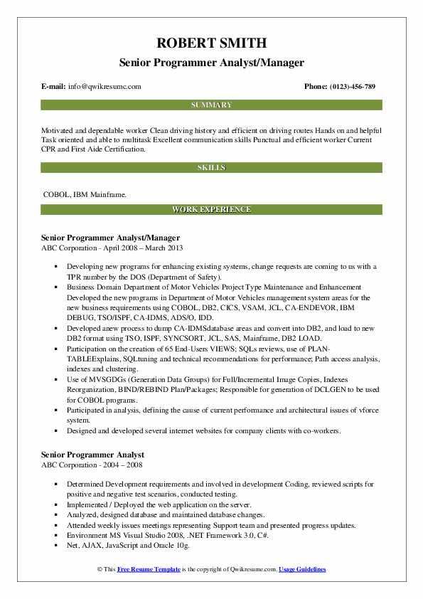 Senior Programmer Analyst/Manager Resume Sample