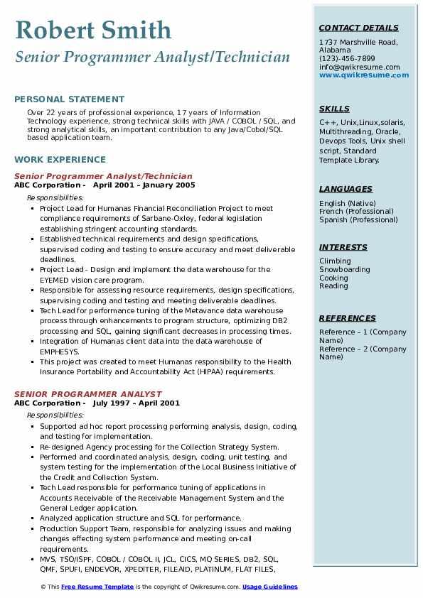Senior Programmer Analyst/Technician Resume Sample