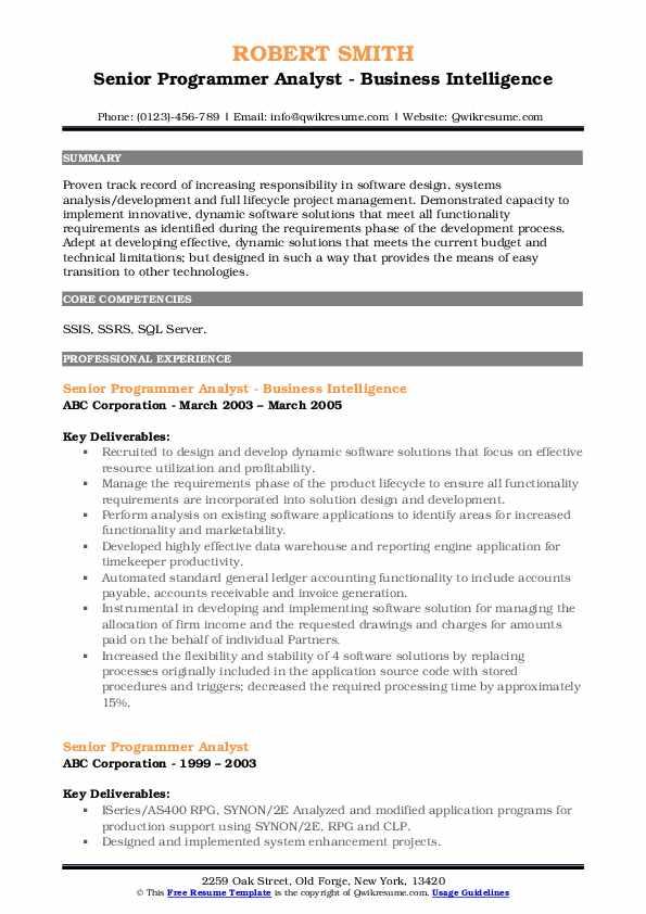 Senior Programmer Analyst - Business Intelligence Resume Example