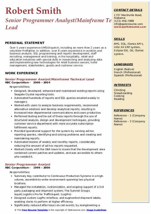 Senior Programmer Analyst/Mainframe Technical Lead Resume Template