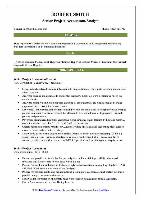 senior project accountant resume samples  qwikresume