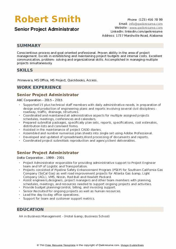 senior project administrator resume samples