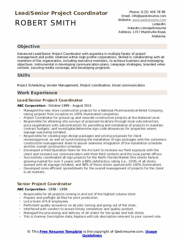 Lead/Senior Project Coordinator Resume Format