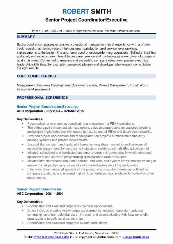 Senior Project Coordinator/Executive Resume Sample