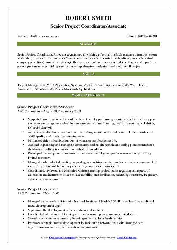 Senior Project Coordinator/Associate Resume Example
