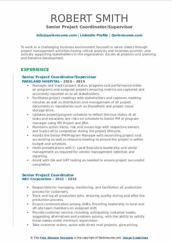 Senior Project Coordinator/Supervisor Resume Format
