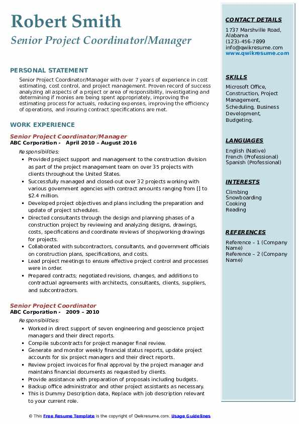Senior Project Coordinator/Manager Resume Example