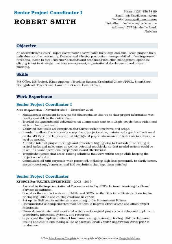 Senior Project Coordinator I Resume Example