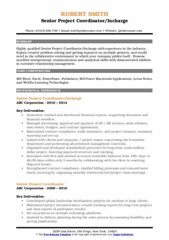 Senior Project Coordinator/Incharge Resume Template