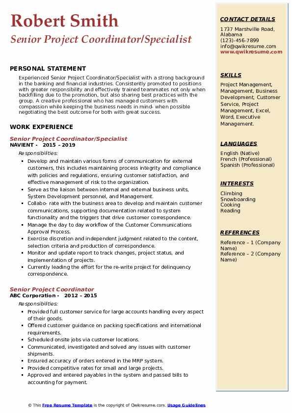 Senior Project Coordinator/Specialist Resume Format