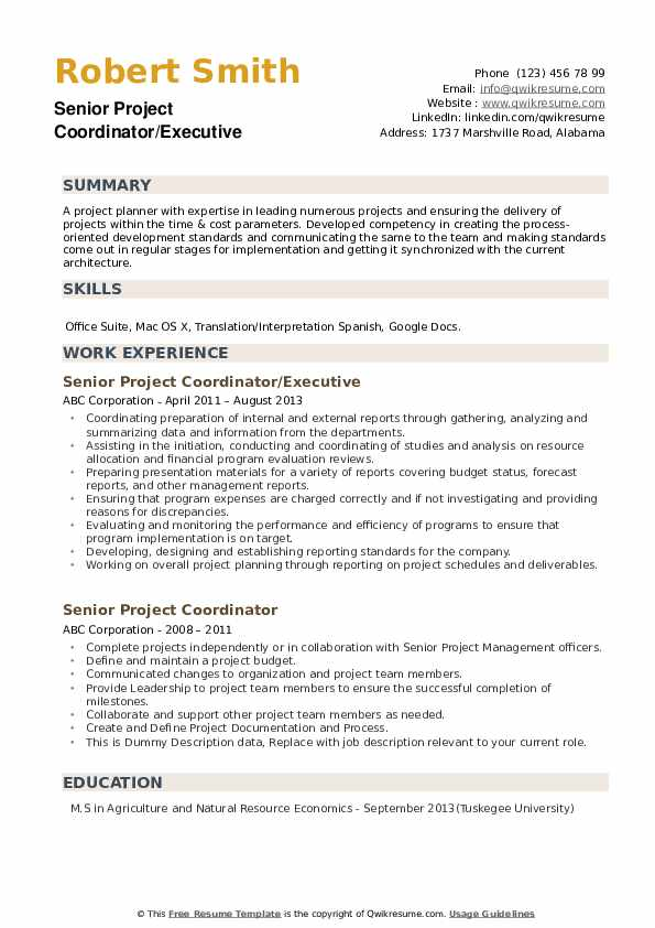 Senior Project Coordinator/Executive Resume Format