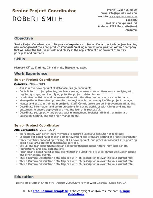 Senior Project Coordinator Resume example