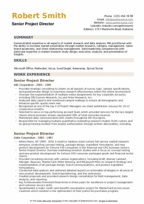 Senior Project Director Resume example