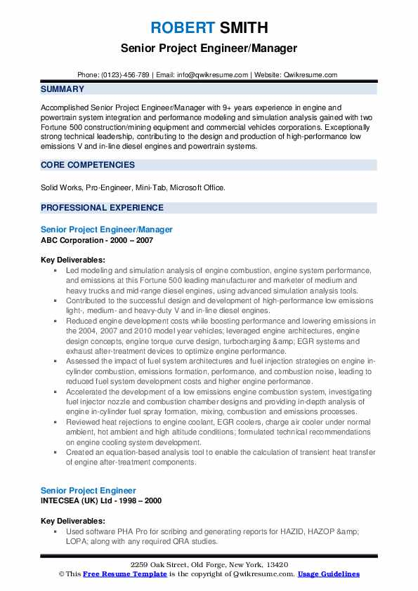 Senior Project Engineer/Manager Resume Template