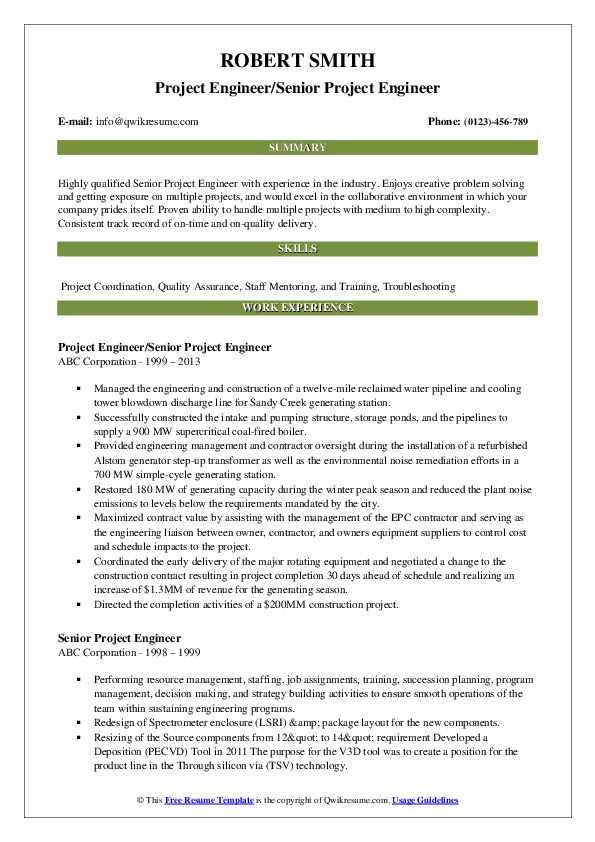 Project Engineer/Senior Project Engineer Resume Template