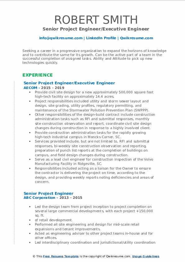 Senior Project Engineer/Executive Engineer Resume Model