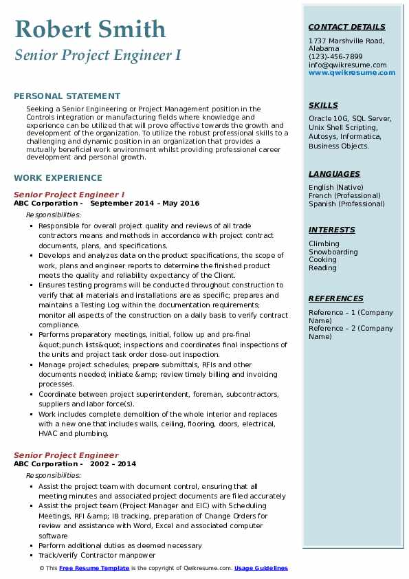 Senior Project Engineer I Resume Format