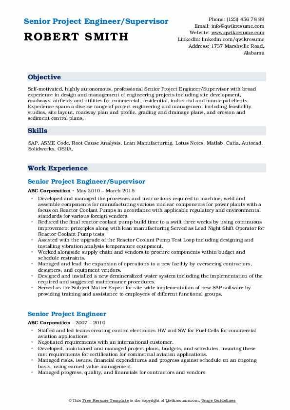 Senior Project Engineer/Supervisor Resume Example