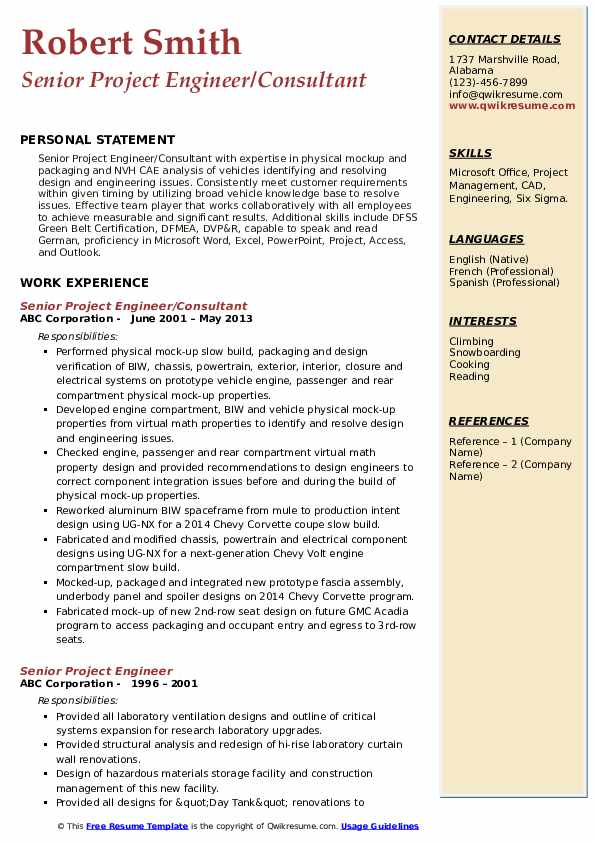 Senior Project Engineer/Consultant Resume Template