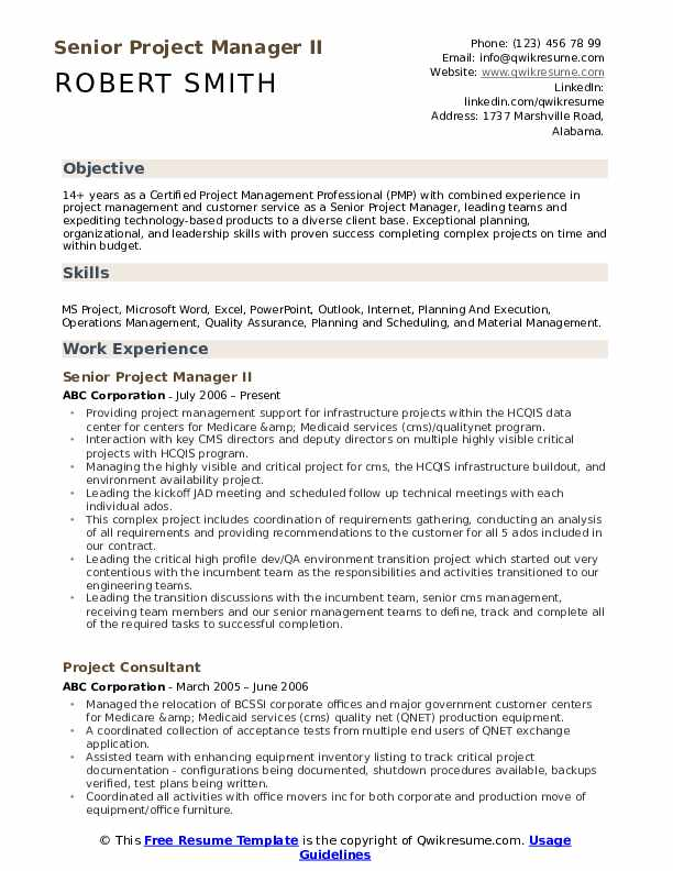 Senior Project Manager II Resume Format