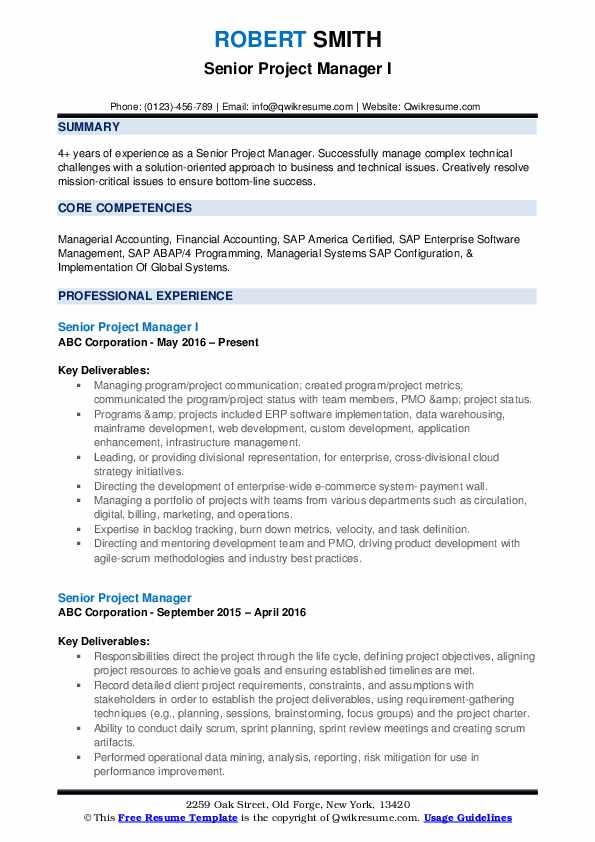 Senior Project Manager Resume Samples | QwikResume