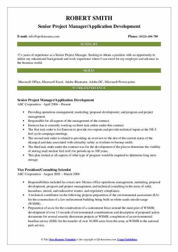 Senior Project Manager/Application Development Resume Model