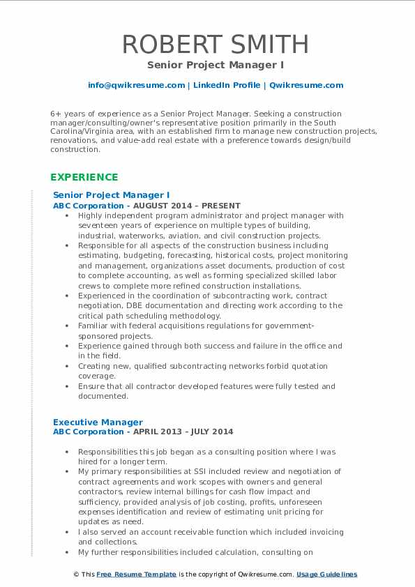 Senior Project Manager Resume Samples Qwikresume