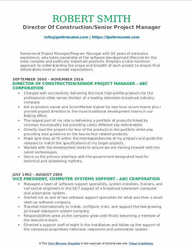 Director Of Construction/Senior Project Manager Resume Sample