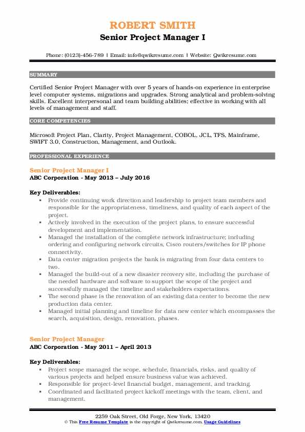 Senior Project Manager I Resume Example