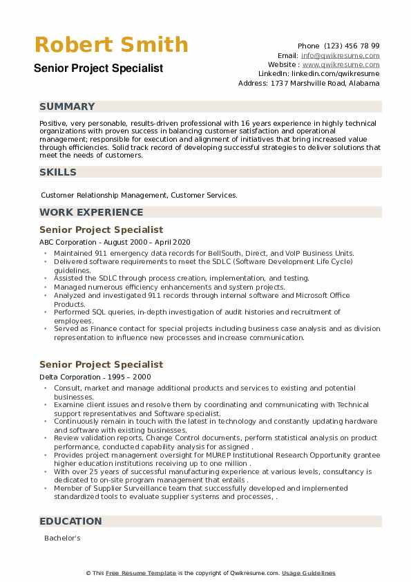 Senior Project Specialist Resume example
