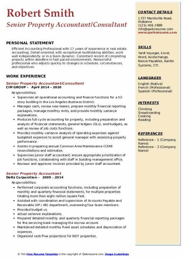 senior property accountant resume samples  qwikresume