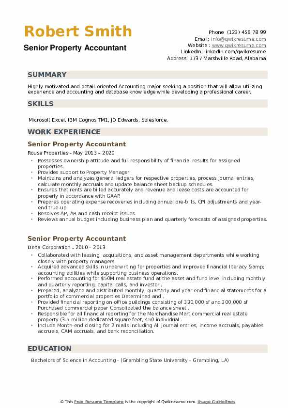 Senior Property Accountant Resume example