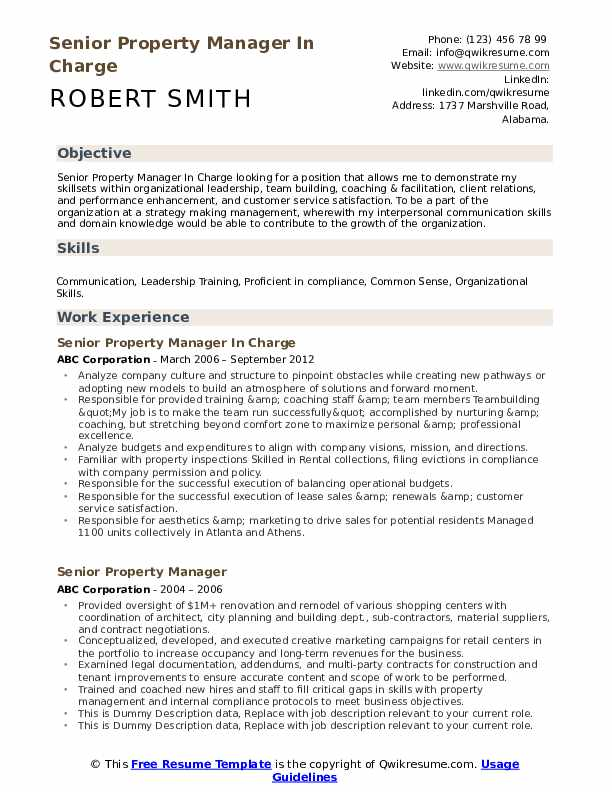 senior property manager resume samples