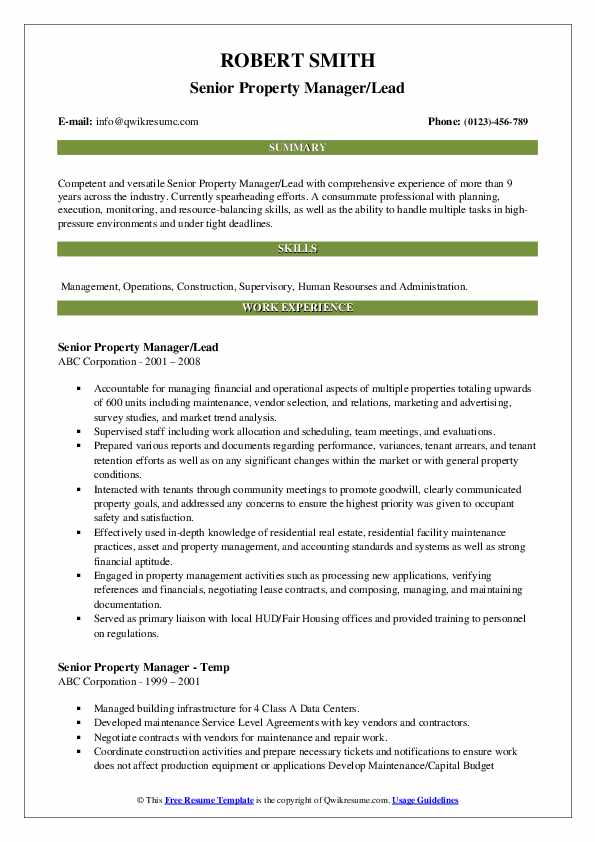 Senior Property Manager/Lead Resume Template