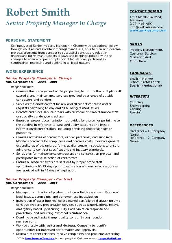 Senior Property Manager In Charge Resume Model