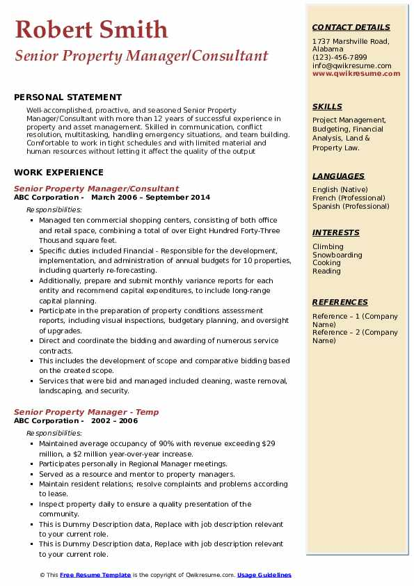 Senior Property Manager/Consultant Resume Sample