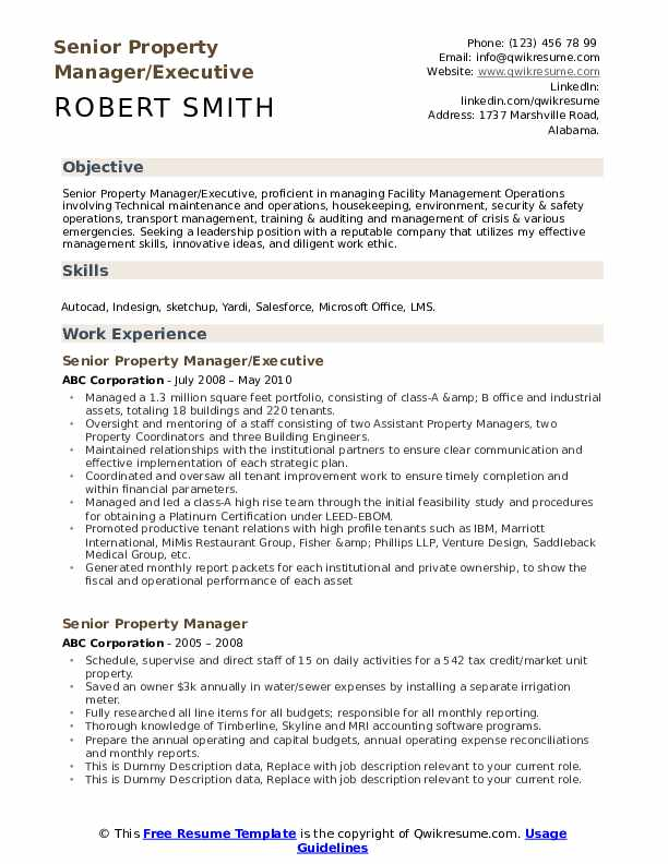 Senior Property Manager/Executive Resume Template