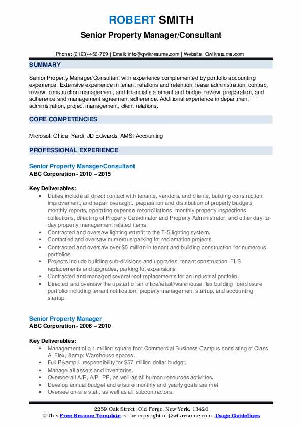 Senior Property Manager/Consultant Resume Example
