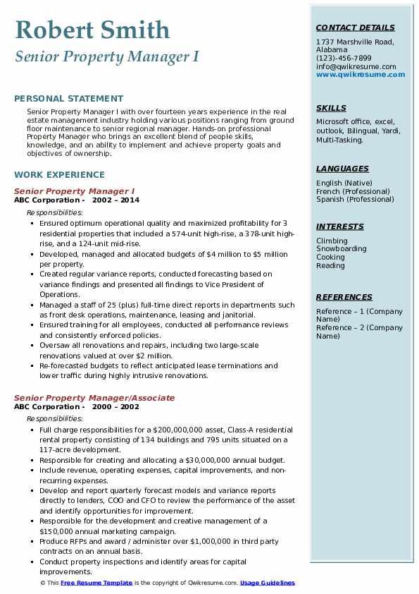 senior property manager resume samples