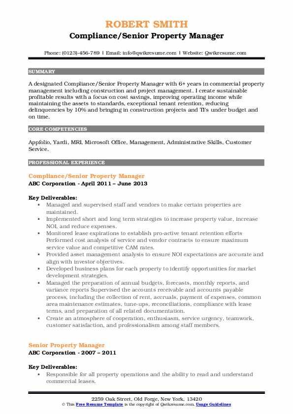 Compliance/Senior Property Manager Resume Format