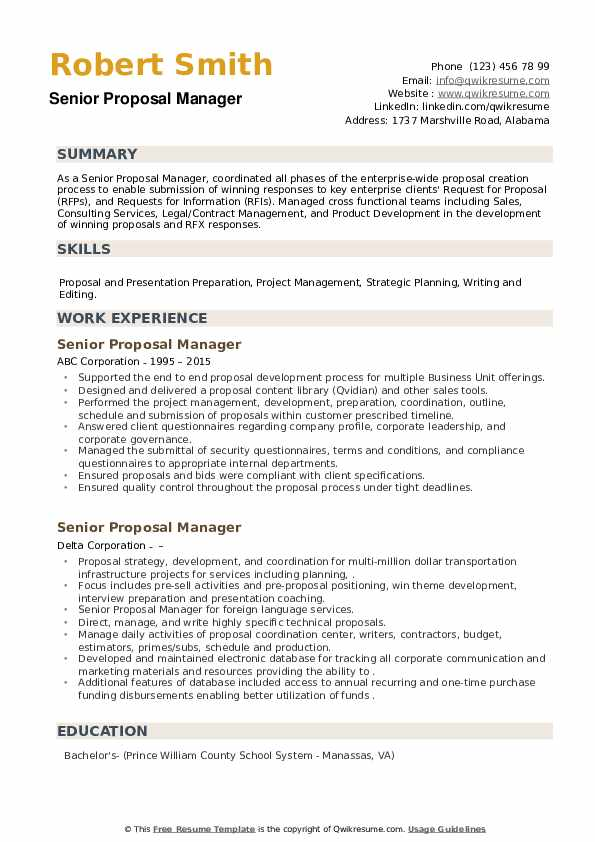 Senior Proposal Manager Resume example