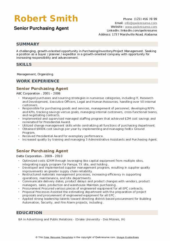 Senior Purchasing Agent Resume example