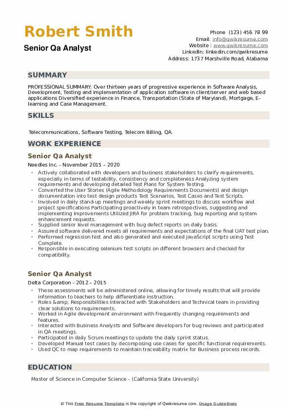Senior QA Analyst Resume example