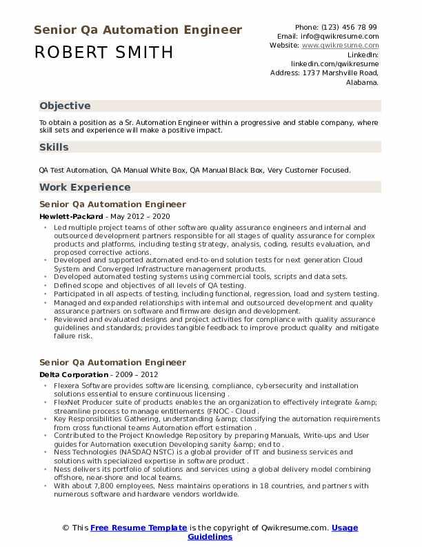 Senior Qa Automation Engineer Resume Samples